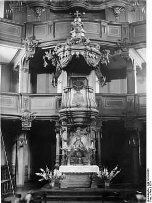 Holy Trinity Church (Berlin) - Interior: the typical Protestant pulpit altar, photo 1939.