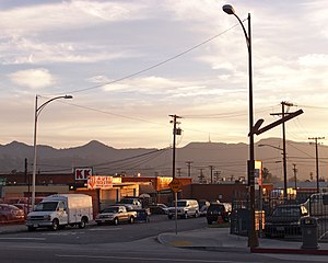 San Fernando Road - Looking south across San Fernando Road towards Griffith Park from Burbank