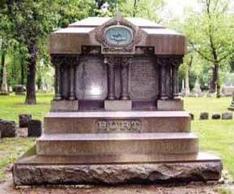William Austin Burt - William Burt with wife and sons at Detroit's Elmwood Cemetery