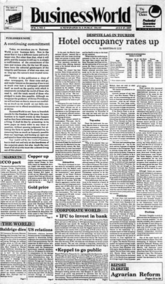 BusinessWorld - Front page of BusinessWorld, July 27, 1987