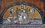 Emperor Leo VI (886–912) adoring Jesus Christ. Mosaic above the Imperial Gate in the Hagia Sophia.