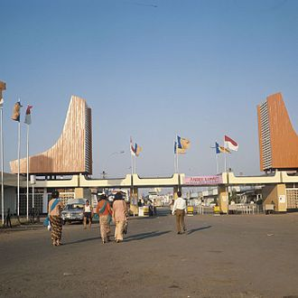 Jakarta Fair - Entrance to Jakarta Fair on Medan Merdeka in the 1970s showing prominent post-war American-influenced decorations.