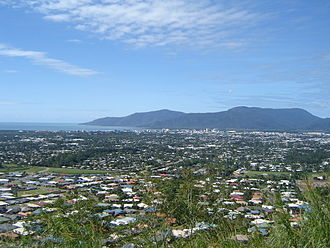 Cairns - View of Cairns from Lake Morris with the Yarrabah Peninsula in the background
