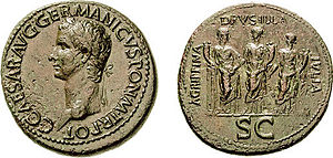 Julii Caesares - Sestertius bearing the likenesses of the emperor Gaius Julius Caesar Germanicus, better known as Caligula, and his sisters.