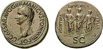Agrippina the Younger - During the reign of Caligula, coins like the one pictured here were issued depicting his three sisters, Drusilla, Livilla, and Agrippina the Younger