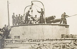 Chincha Islands War - A Peruvian battery during the Battle of Callao