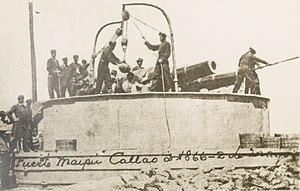Batería peruana en el puerto del Callao, el 2 de mayo de 1866.