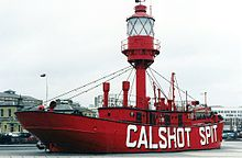 "Red lightship, with ""Calshot Spit"" on its side"