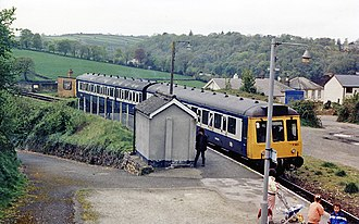 Calstock railway station - View SW, towards Calstock Viaduct in 1987