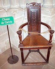Calvins Stuhl in der Genfer Kathedrale