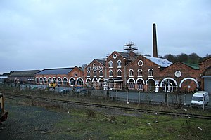 Cambrian Railways - Former Cambrian Railways workshops, Oswestry. Now an antiques warehouse