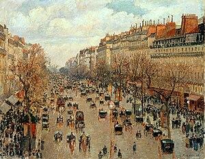 History of Paris - Paris in 1897 - Boulevard Montmartre, by Camille Pissarro, Hermitage Museum, Saint Petersburg, Russia