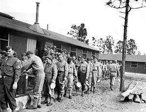 Camp Gordon Johnston - Soldiers lined up for lunch at Camp Gordon Johnston