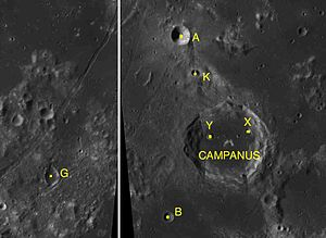 Campanus (crater) - Campanus and its satellite craters