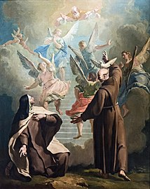 Cappella Giustinian dei Vescovi of San Francesco della Vigna (Venice) - Peter of Alcantara shows, to Teresa d'Avila, the way to paradise - by Francesco Fontebasso.jpg