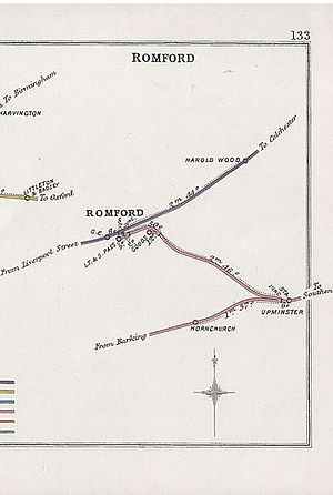 Romford–Upminster line - Part of a 1904 Railway Clearing House junction diagram showing the line between Romford and Upminster
