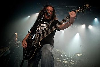 English: Jeff Walker of Carcass, live at Hole ...