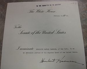 Common law - Nomination of Benjamin Cardozo to serve on the U.S. Supreme Court, 1932.