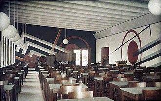 """Otto Gustaf Carlsund - Mural """"Rapid"""" at the restaurant Parkrestaurangen Lilla Paris, Stockholm, 1930."""