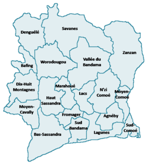 Districts of Ivory Coast - Regions of Ivory Coast prior to 2011