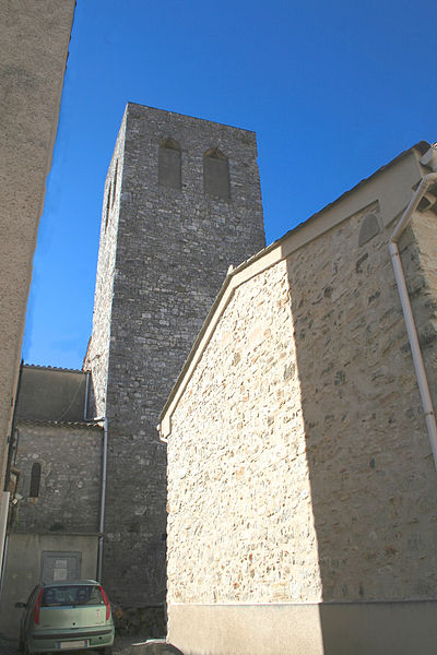 Causses-et-Veyran (Hérault) - clocher de l'église Notre-Dame de la Purification.