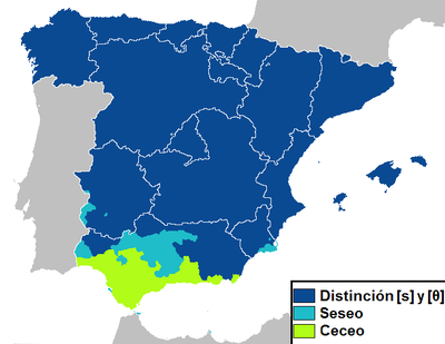 Shows a map of Spain with regions where seseo, ceceo, and distinción are used.