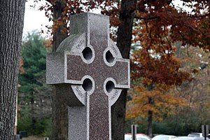 Christian symbolism - 20th-21st century Celtic cross with inscribed symbolism
