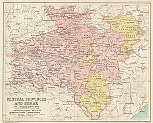 Bastar state - Map of the Central Provinces and Berar in 1909 showing the districts, divisions, and Bastar princely state under the authority of the province, as well as the 1905 changes to the eastern boundary.