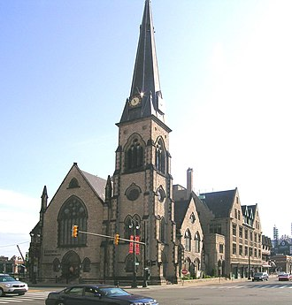 Religious Structures of Woodward Avenue Thematic Resource - Central United Methodist Church from across Woodward