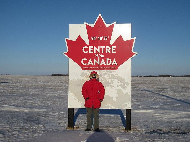 Centre of Canada Longitude sign in Manitoba