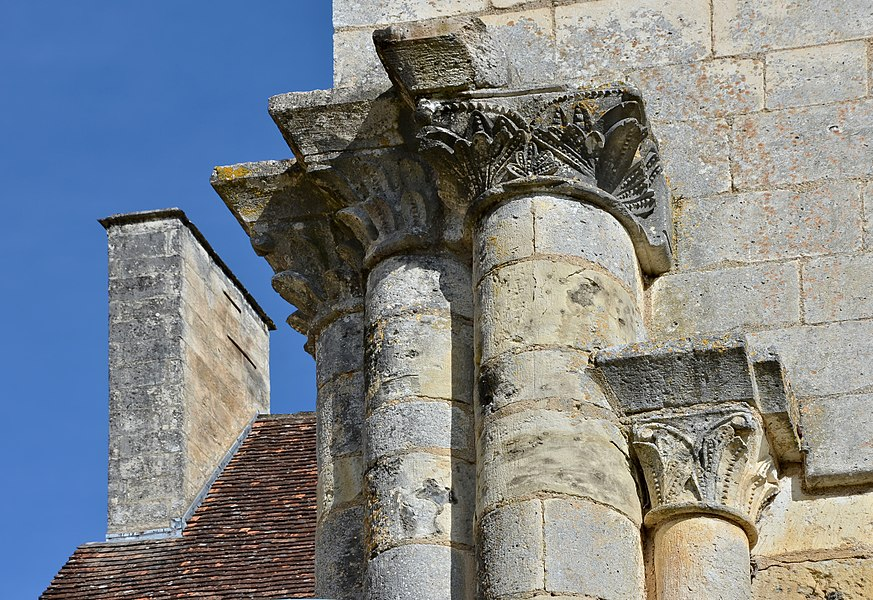 Capitals of the abbey church (12th-17th centuries, renewed since) Chancelade, Dordogne, France
