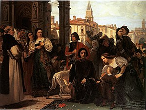 Council of Troubles - 1871 painting by Charles Soubre depicting a noble family in front of the Council of Troubles