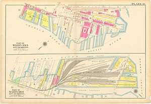Boston Navy Yard - 1912 Map of the Charlestown Navy Yard and Mystic Wharf