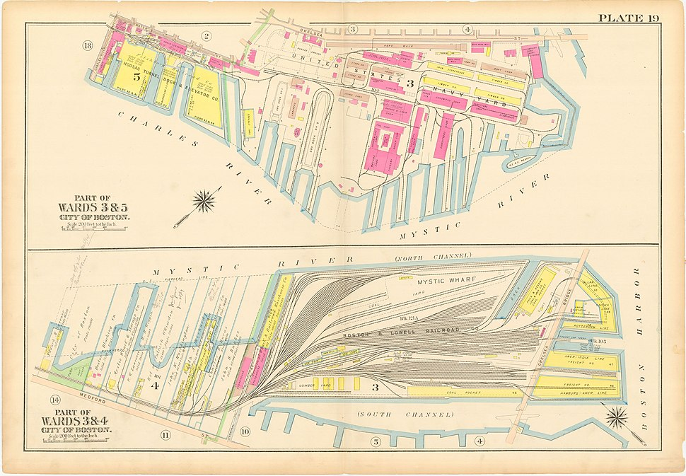 Charlestown Navy Yard Mystic Wharf Map 1912