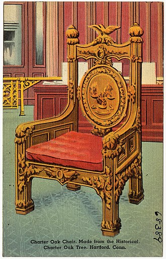Charter Oak - The Charter Oak Chair shown on a postcard