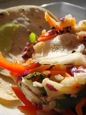 Chayote Jicama Slaw with Handmade Tortillas