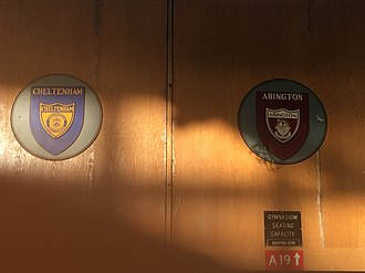 Cheltenham High School - The Cheltenham and Abington logos next to each other at the Abington gymnasium