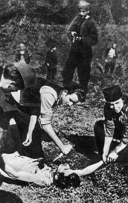 Chetniks in Sumadija kill a Partisan through heart extraction Chetniks in Sumadija kill a Partisan through heart extraction.jpg