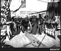 Chilean sailors with ropes on deck of GENERAL BAQUEDANO, July 1931 (6991051464).jpg