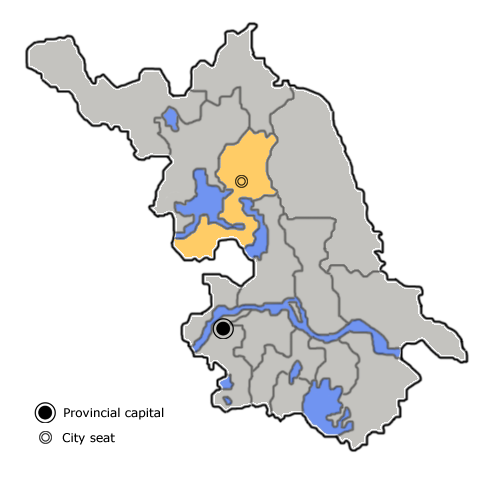 Location of Huai'an City (yellow) in Jiangsu