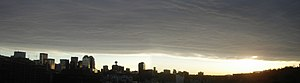 Chinook arch over the city of Calgary, Alberta...