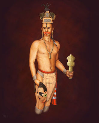 Headhunting - Digital painting of a Mississippian-era priest, with a ceremonial flint mace and a severed head, based on a repousse copper plate.