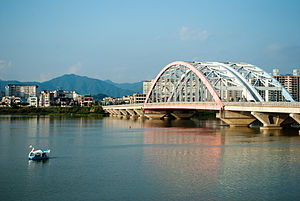 Chuncheon - View of Seoyang Bridge and Seoyang River