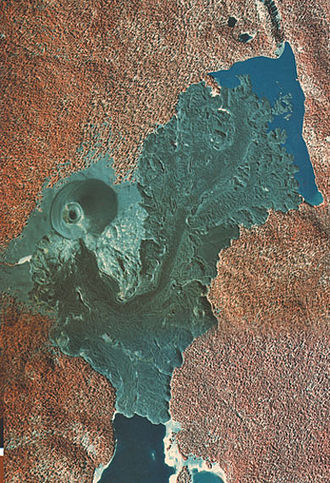 Cinder Cone and the Fantastic Lava Beds - False-color aerial photo of Cinder Cone and the Fantastic Lava Beds