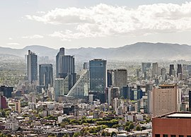 Mexico City, a major financial center in Mexico Ciudad.de.Mexico.City.- Paseo.Reforma.Skyline CDMX 2016 (cropped).jpg