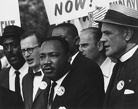 Civil Rights March on Washington, D.C. (Dr. Martin Luther King, Jr. and Mathew Ahmann in a crowd.) - NARA - 542015 - Restoration.jpg