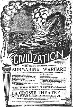 Civilization (film) - Full-page newspaper advertisement promoting the spectacle of Civilization