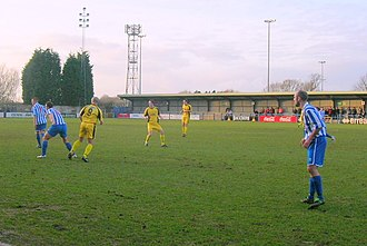 Clevedon Town F.C. - Clevedon Town (wearing blue kit) playing at the Hand Stadium on 26 December 2007