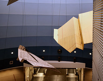 """Cleveland Hopkins International Airport - Hopkins airport is known for its fanciful giant """"paper"""" airplane sculptures located in the underground walkway between Concourses C and D."""
