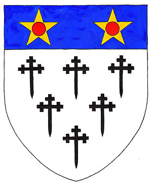 William de Clinton, 1st Earl of Huntingdon - Arms of de Clinton: Argent, six crosses crosslet fitchée sable three two and one on a chief azure two mullets or pierced gules
